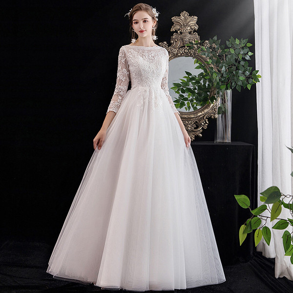 3/4 long sleeves wedding dress with lace appliques 2020 tulle a line wedding gowns lace up bride dresses vestido novia, White