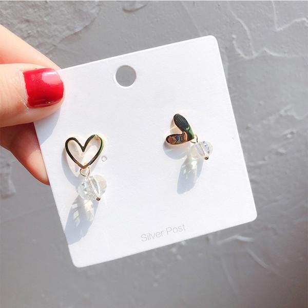 Minimalist Silver Pin Gold Crystal Heart Stud Earrings for Women Asymmetric Tiny Love Heart Stud Earrings for Girl Cute