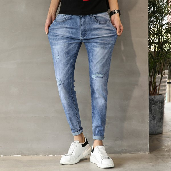 Long Trousers Men Jean Pencil Pant Elastic Hole Washed Fashion Street dress Casual Fashion Hip Hop Washed Youth Men MOOWNUC MWC