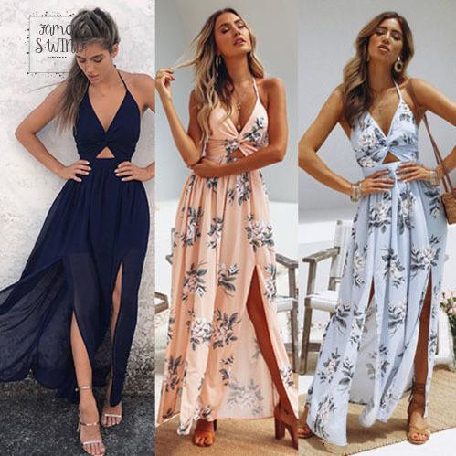 Casual Dresses Womens Maxi Boho Summer Long Dress Evening Party Beach Dresses Sundress Floral Halter Dress Summer Designer Clothes