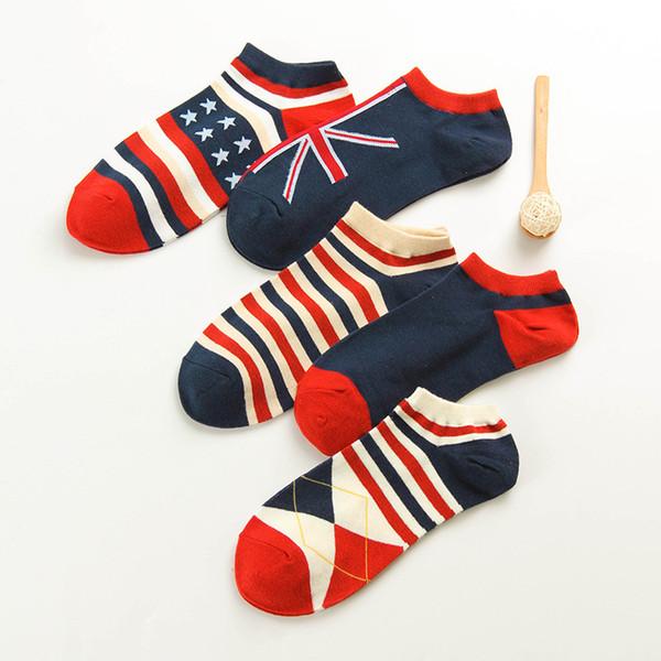 Calcetines para hombre Trabajo informal Negocio Bandera nacional Banda de algodón Serie Hit Color Moda Banderas ocasionales Tobillo Calcetín Medias