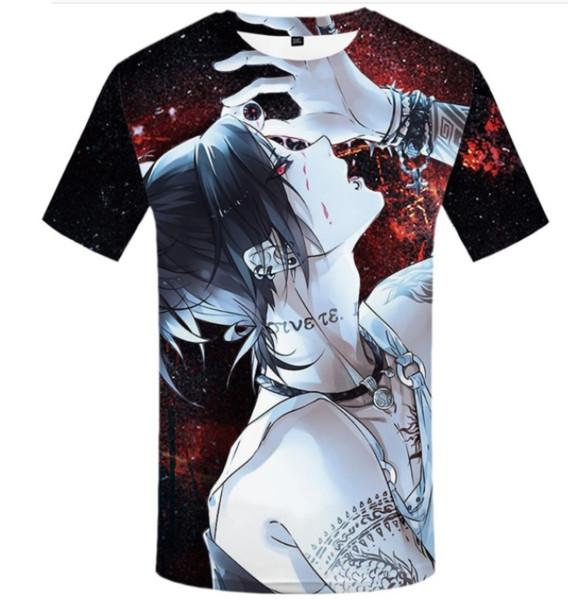 Engraçado camisetas Anime de Tóquio Ghoul T-shirt dos homens Ken Kaneki 3D camisetas Printing Japão Camisetas Casual Sangue Anime roupas Harajuku Q1200