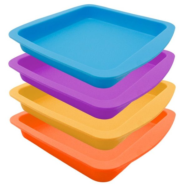 """Colorful Nogoo Round Plate Deep Dish Pan 8"""" Non Stick Silicone Jars Container For Storing The Stickiest Extracts"""