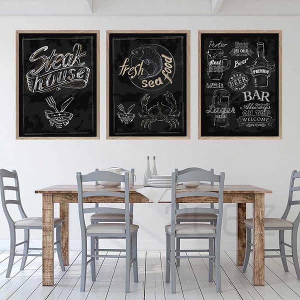 Großhandel Steak House Fresh Sea Beer Menü Wandkunst Leinwand Malerei  Nordic Poster Und Drucke Wandbilder Küche Restaurant Dekor Von Copy02,  $36.48 ...