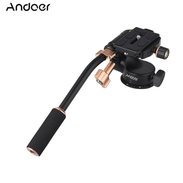 Cheap Tripod Heads Andoer Q08S Aluminum Alloy 3-Way Damping Video Head Tripod Head with Pan Bar Handle for DSLR ILDC Camera for