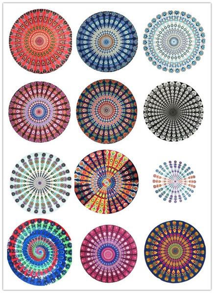 17 стилей 150 см богемный круглый павлин пляжное полотенце индийский гобелен скатерть йога коврик солнцезащитный крем шаль обернуть индийский пикник коврик пляж FFA1817