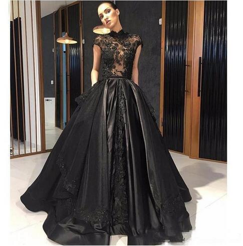 Elie Saab Black Lace Formal Evening Dresses High Neck See Through Overskirt Train Red Carpet Prom Party Gowns custom made Robe de soriee