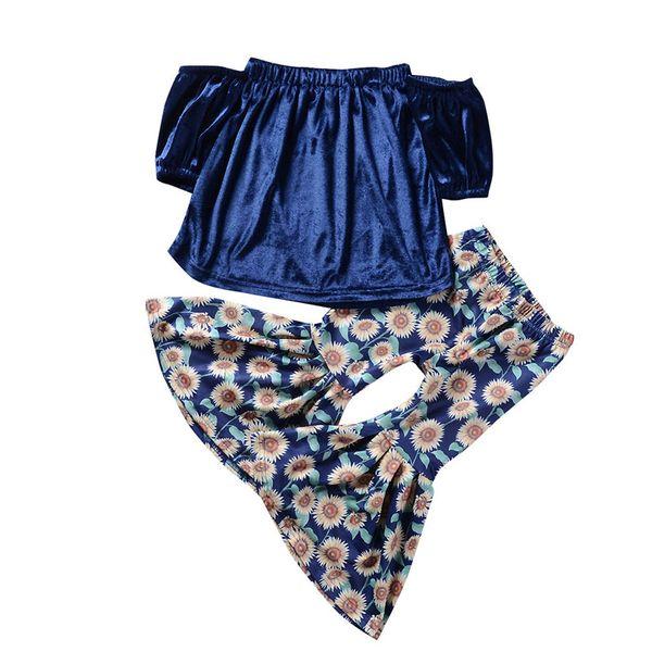 Completi da bambina in velluto color oro da bambina Top con spalle scoperte + stampa crisantemo Pantaloni flare da 2 pezzi / set nuovi abiti da bambino 2019