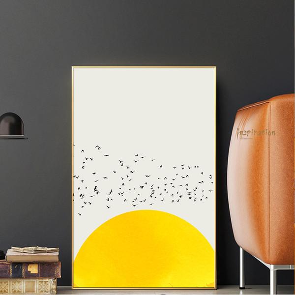 Cartel de miles de pájaros para habitación de niños Arte de pared Color blanco y amarillo Animal Impresiones de lienzo Pájaro Cuadro decorativo Cuadros