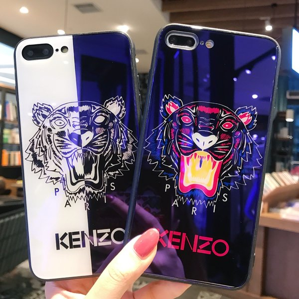 designer Cheap Tiger Painted Brand Blue Ray Tempered Glass I Phone Case TPU Back Cover for IPhoneX 7/8P 7/8 6sP 6/6s 2 Color Available