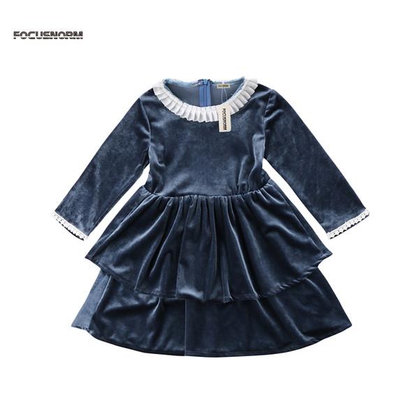 Ragazze dei capretti principessa Dress Lace sveglio del bambino di modo di stampa floreale di seta pizzo Compleanno Abbigliamento Sundress maniche Party Dress Tutu lungo