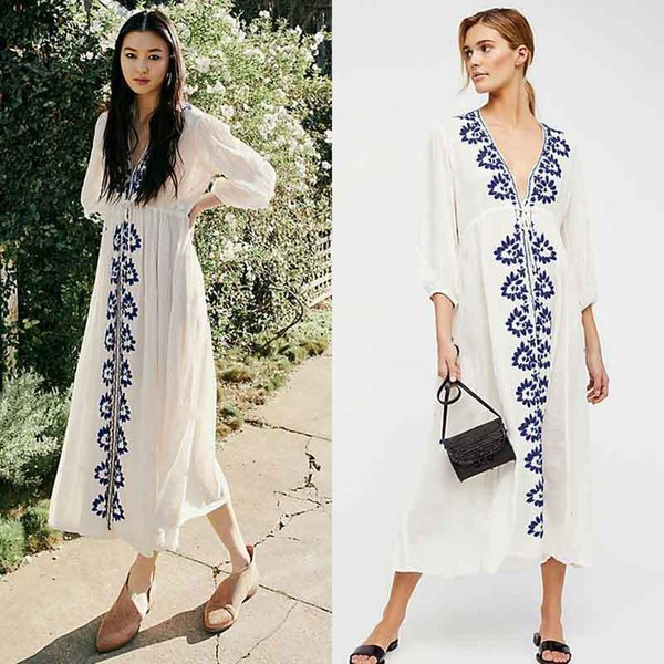 Plus Size Embroidered Summer Beachwear Chiffon Kaftan Beach Woman Tunic Bath Dress Robe plage Swim Wear Cover Up