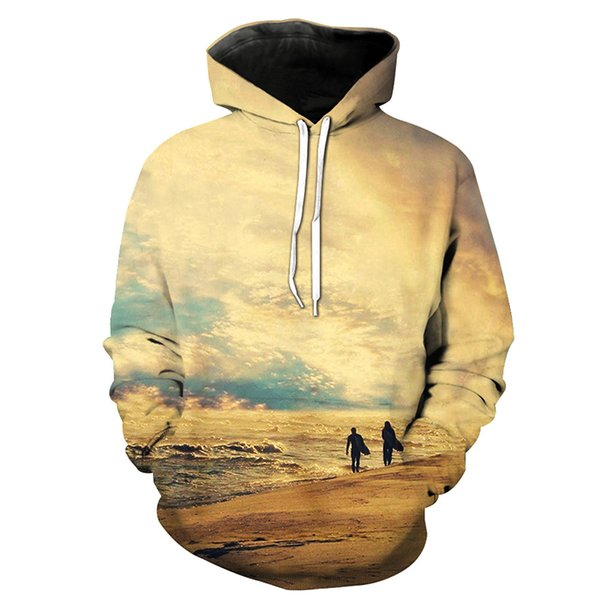 Man Hoodie Sunset Scenery 3D Graphic Full Printed Casual Unisex Sweatshirts Tops