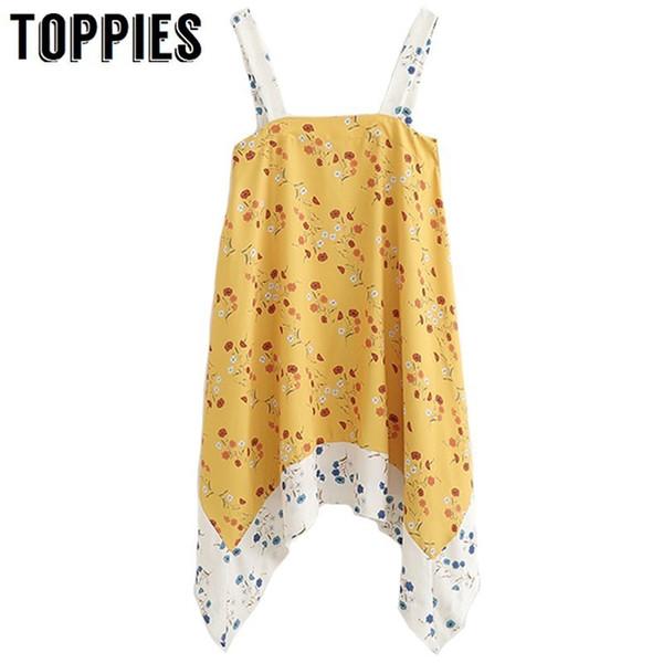 2019 sexy imprimé floral robe asymétrique camisole robe ourlet irrégulier coréen été jaune mini robe satin chemisiers