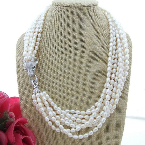 Charming 9strands 4-5mm white rice freshwater pearl necklace micro inlay zircon dragon head accessories necklace long 53cm