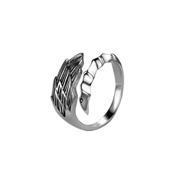 Ring Hawk Feather Lucky Stainless Steel Arrow Ring Men Women Open Ring Gift