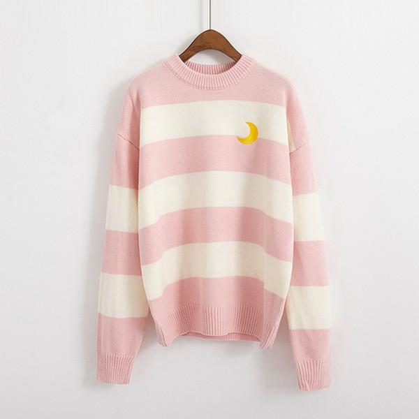 Moda Feminina Coreano Outono e Inverno New Retro Doce Cor Listrado Moon Pullover com Slender Blusas De Malha