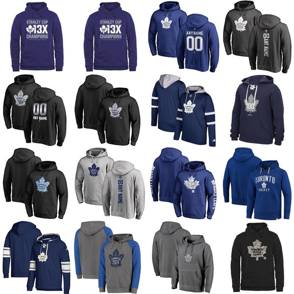 Cu tom men women kid toronto maple leaf embroidery logo black blue gray navy hockey hoodie with any name any no, Black;red