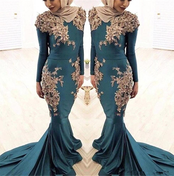 2019 Muslim Long Sleeves Satin Mermaid Evening Dresses 3D Lace Floral  Beaded Hunter Green Sweep Train Plus Size Party Prom Dresses 80s Prom Dress  ...
