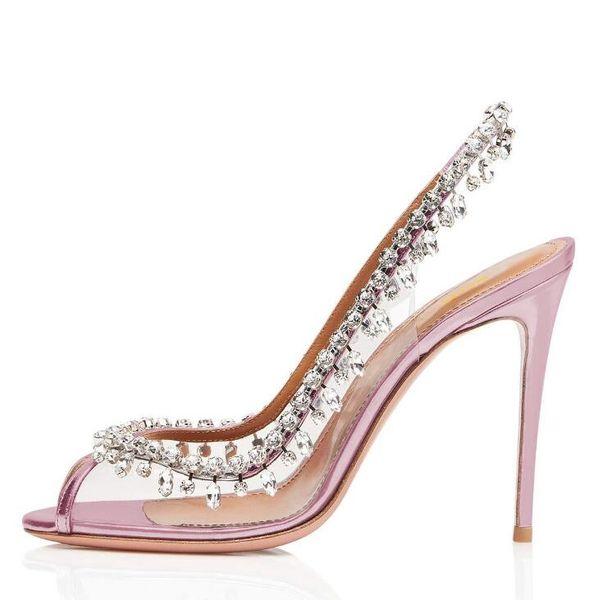 2019 Fashion Dress Shoes Sandals European and American Fish Mouth Rhinestones High Heel Women's Shoes Wedding Women's shoes8