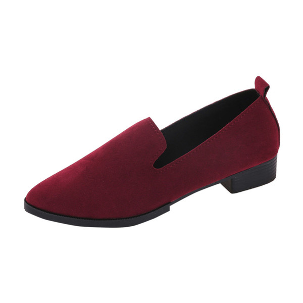 7579a1a687f7 Red Leather Flat Shoes pointed toe With low Woman Loafers Cowhide Spring Casual  Shoes Women Flats
