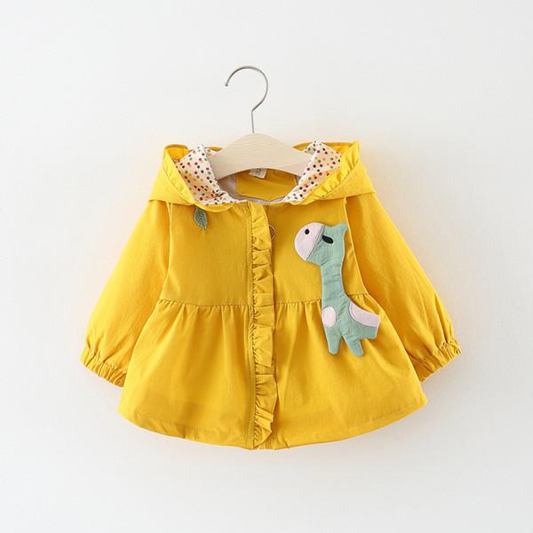 Малыш девушка пальто мультфильм Жираф с капюшоном мода маленькие девочки куртки точки Детская верхняя одежда с длинным рукавом наряд для ребенка