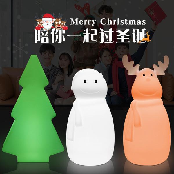 Светодиодный рождественский подарок атмосфера светодиодный лось настольная лампа мультфильм снеговик лампа украшения спальни рождественская елка ночник