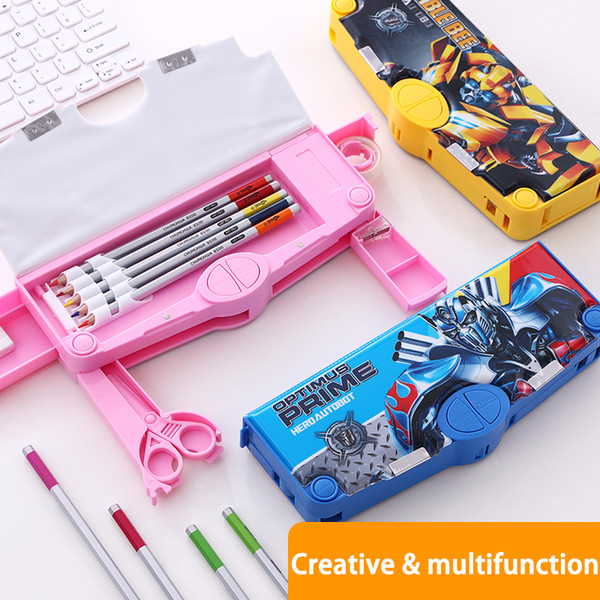 top popular Creative Multi-function Pen Box Large Capacity School Pencil Case Kawaii Variable Type Pen Holder Gift For Kids 2021