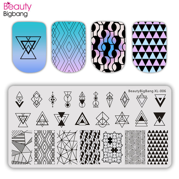 Wholesale health lines for sale - Group buy eauty Health BeautyBigBang cm Stamping Plate Nail Art Striped Line Flower Geometry Rectangle Nail Stamp Plates Template Mold BBB XL