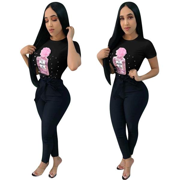 Siyah 3D Çiçek Pullu Şişe T-shirt Bahar ve Yaz Tee Gömlek Kadın Kısa Kollu İnciler Boncuk Sokak Giyim Yeni Stil Moda Üst