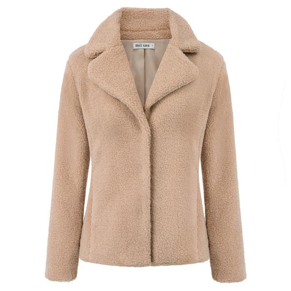 зимнее теплое пальто Женская мода из искусственного меха с длинным рукавом одна кнопка воротник с лацканами стройная женская верхняя одежда