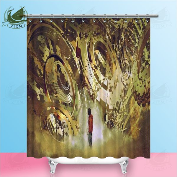 Vixm Illustration Of Boy Standing In Broken Golden Gear Digital Art Style Shower Curtains Polyester Fabric Curtains For Home Decor