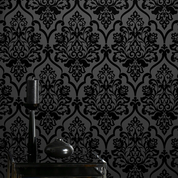 top popular Hot selling high grade Classic Mystery Black Velvet Flocking Damask Wallpaper Textile Wallcovering for home decoration 2021