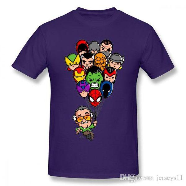 Mens luxury brand designer t shirts Funny Balloon Marvel Stan Lee T-Shirt Men Cartoon Style Super Hero Spiderman Iron Man Crewneck box