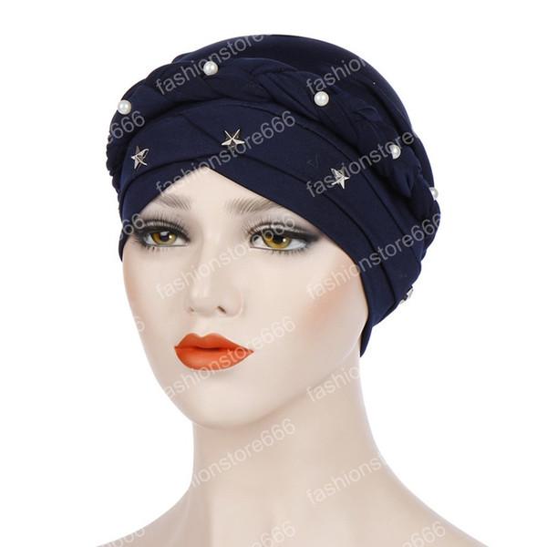Mujeres musulmanas Cruz Seda Trenza Perla Estrella Turbante Sombrero Cáncer Chemo Beanie Cap Hijab Headwear Head Wrap Accesorios para el cabello