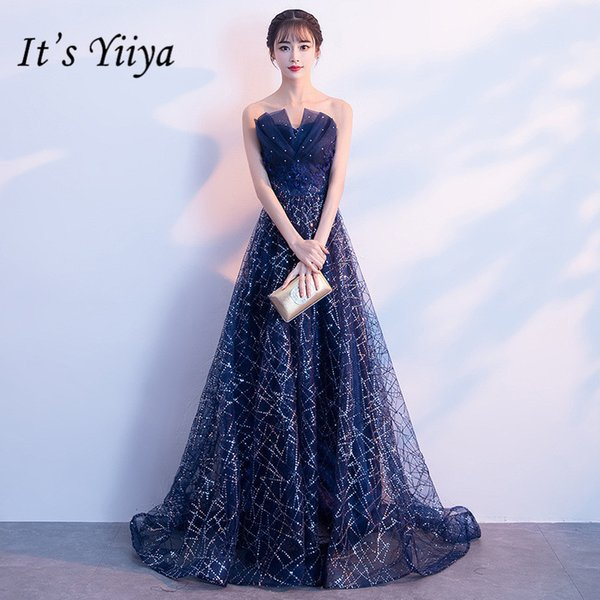 It's Yiiya New V-neck Bling Mesh Prom Gowns Elegant Blue A-line Floor-length Formal Dresses H194 Y19042701