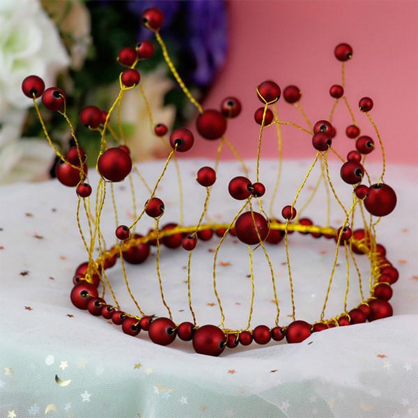 1 pc Blanc Grenat Rouge Perle Couronne Gâteau Décor Dessert Ornement D'anniversaire Cap Chapeau De Mariage Festival Enfants Décoration de Fête D'anniversaire
