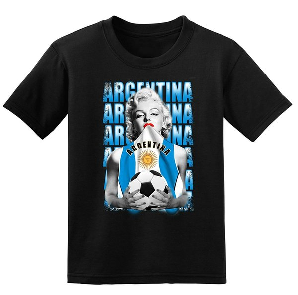 Men's Fashion T-Shirt Russia 2018 Argentina Football Marilyn Monroe T-Shirt Men's Casual Shirt