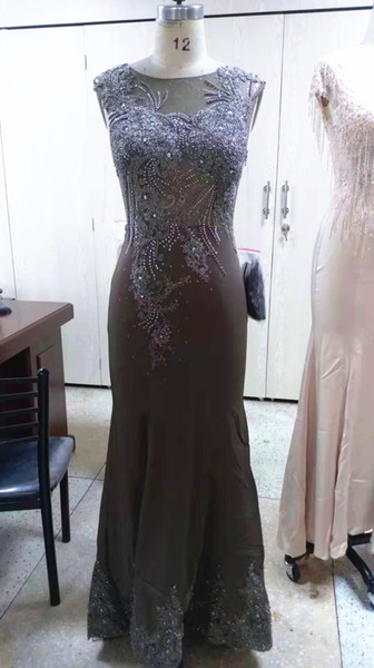 In Stock Cheap Real Photo Appliques Mermaid Evening Dresses Beadings Sequined Sexy Back Prom Gowns Elegant Formal Dresses