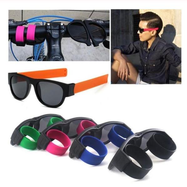 Mini Katlanır Polarize Güneş Gözlüğü Kadın Erkek Serin Trendy Açık Spor Tokat Güneş Gözlüğü UV400 Siyah Bilezik bileklik güneş gözlükleri