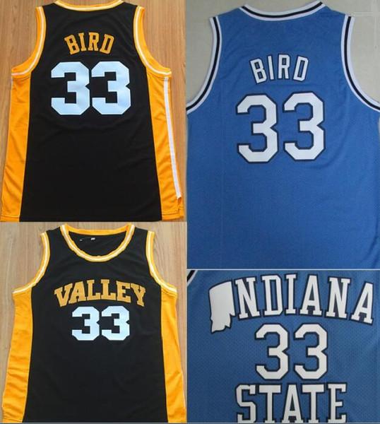 Hombres baratos Larry Bird Jersey # 33 Spring Valley High School Camisetas de baloncesto vintage NCAA Indiana State Sycamores Camisa cosida Larry Bird