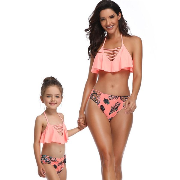 Fashion Flounce Mom Baby Dresses Clothing Two-piece Mother and Daughter Swimsuit Bikini Family Matching Clothes Outfits Sister Swimwear