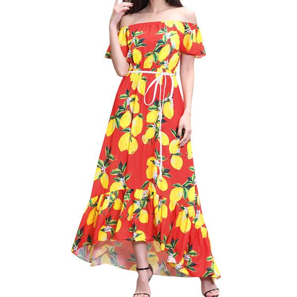 Women Floral Printed Boho Short Sleeve Maxi Dress With Belt Evening Party Cheap Clothes China Vestido De Festa #35