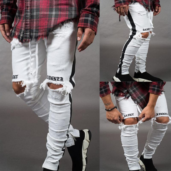 2019 Fashion Men Jeans Hip Hop Cool Street wear Biker Ankle Zipper White Skinny Jeans Slim Fit Mens Clothes Pencil Jeans