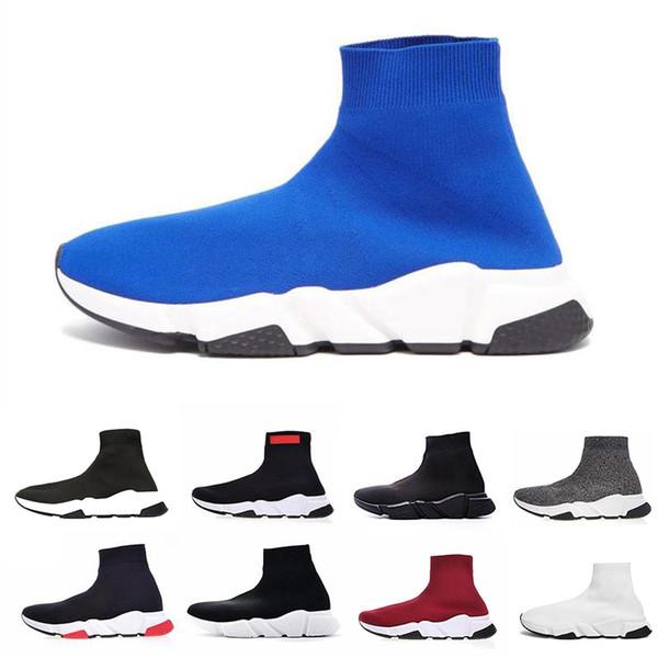 2019 Marchio Speed Runner Scarpe di lusso Calzino Top Quality Triple Nero Oreo Rosso Flat Trainer Uomo Donna Casual Scarpe sportive scarpe casual