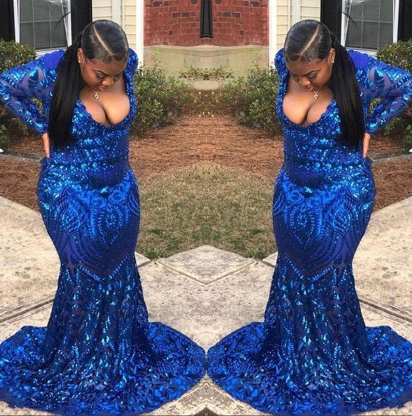 Royal Blue Long Sleeves Sequins Mermaid Prom Dresses 2019 Deep V Neck Sweep Train Formal Party Plus Size Evening Gowns BC1399