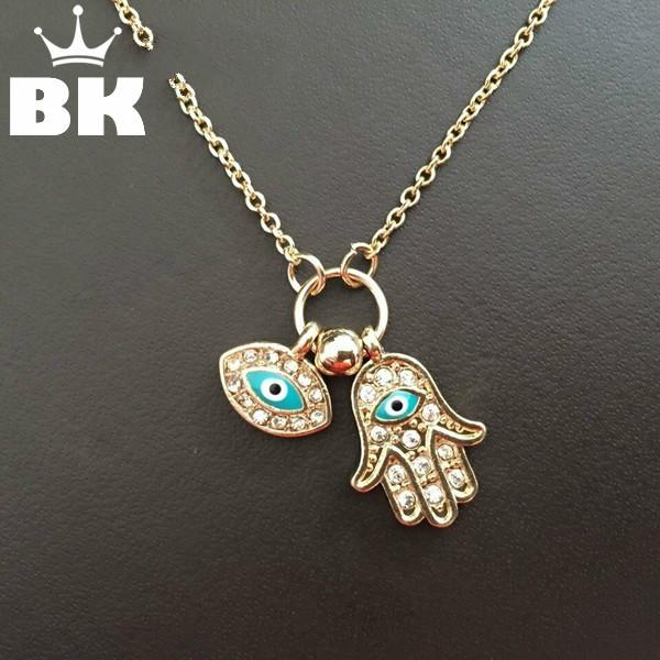 New Fashion Gold Silver Turkey Blue Eye Hamsa Hands Fatima Palm Necklac For Women Jewelry Wholesale Good Luck Chain Necklace