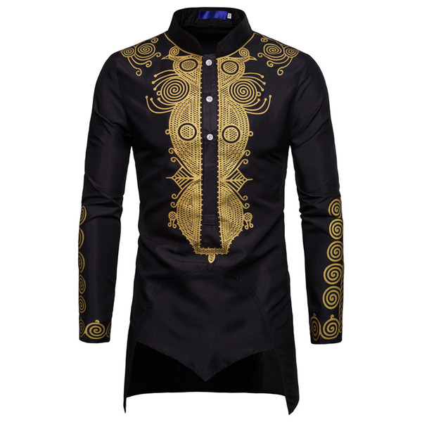 Totem Impresso Mens Dress Shirt Long Summer Estilo Homem negro camisas Oriente Médio Bronzing Slim Fit Plus Size XXXL Masculino Shirts A449