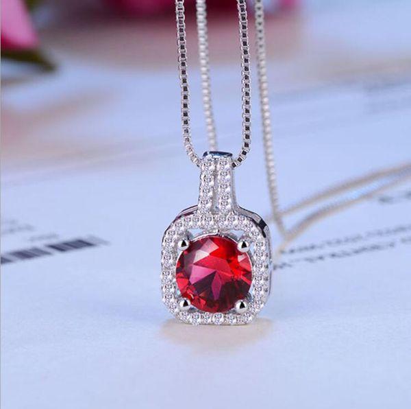 6 Color Zirconia Round Cut Diamond CZ Gemstones Simple Korean Fashion Jewelry 925 Sterling Silver Women Cute Chian Necklace Pendant Gift