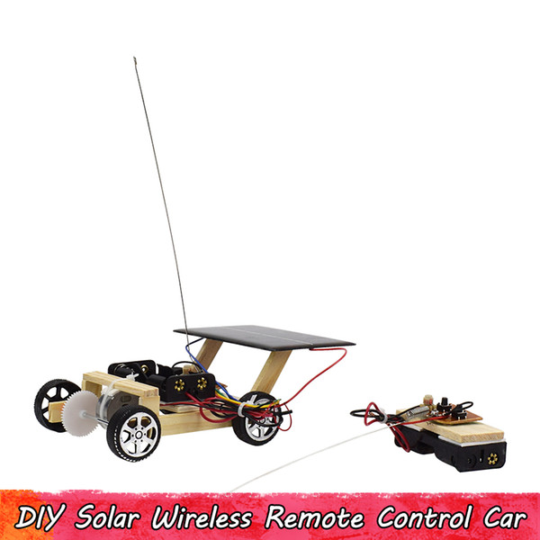 best selling Wooden Solar Wireless Remote Control Car Scientific Experiment Toys Handmade Assemble Engineering Circuit Kits Educational Gifts for Kids